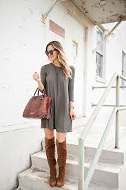 olive shift dress the knee boots livvyland fashion