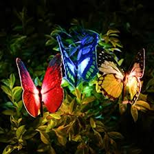 solar stake lights outdoor amazon com newest butterfly garden solar lights outdoor 3 pack