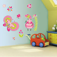 fascinating turquoise wall painting design with pink wall ornament