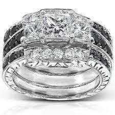 black bridal sets princess black and white diamond bridal set 1 7 8 carat ctw in