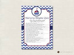 nautical nursery rhyme quiz baby shower game nautical