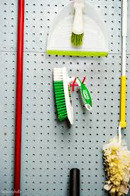 pegboard cleaning supplies storage diy in the know mom