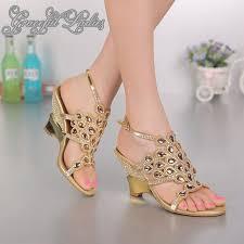 gold wedge shoes for wedding gold wedge heel 7 5cm rhinestones wedding sandal shoes crystals