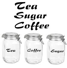 Labels For Kitchen Canisters Tea Coffee Sugar Glass Canister Label Stickers Decals In Black