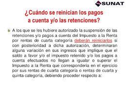 pagos a cuenta y retenciones del impuesto a la renta por suspension de retenciones al 2013
