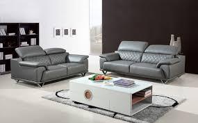 Genuine Leather Sofa Sets Divani Casa Wolford Modern Grey Leather Sofa Set