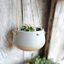 Planter Pot Ceramic Hanging Planter Pot With Jute String By Lilac Coast