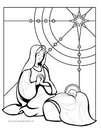 baby jesus coloring page mary and baby jesus color page religious christmas color page