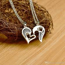 love heart chain necklace images Wholesale new broken heart necklaces fashion 2 part crystal best jpg