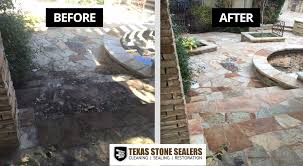 Patio Sealant Before U0026 After Pictures Texas Stone Sealers Project Gallery