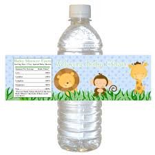 25 personalized jungle baby shower bottle water labels wrappers