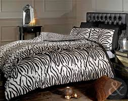 Zebra Print Duvet Cover Just Contempo Zebra Print Duvet Cover Set Double Black Amazon
