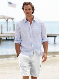 mens beach fashion menswear l linen white shorts and shirt l men s resort beach