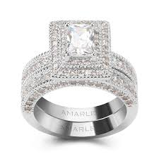 bridal set wedding rings halo 1 0 ct emerald cut lab created diamond bridal set