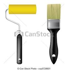 vector clip art of paint brush and paint roller vector