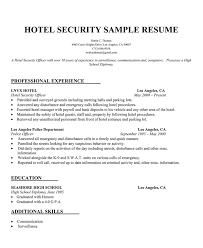 Hotel Manager Sample Resume by Hotel Security Resume Sample Http Resumecompanion Com Resume