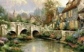 Cottage Houses Houses Cobblestone Brooke Bridge Painting Tree Path Boat Flower