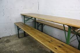 vintage industrial german beer table bench set sanded and waxed