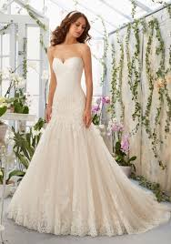 designer wedding dresses gowns alencon lace appliques on tulle dress with scalloped hemline