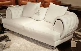 Furniture Luxury Solid White Tufted Leather Sofa For Vibrant