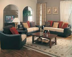 Red And Black Sofa by Cherry Solid Wood Furniture Features Small Table And Black Leather