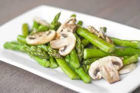 Asparagus Dishes Main Course - roasted garlic asparagus and mushrooms ahead of thyme