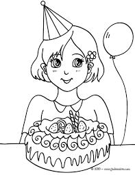 coloriages fille avec son gâteau d u0027anniversaire fr hellokids com