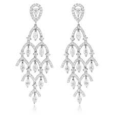 diamond chandelier earrings ct diamond 18k white gold chandelier earrings