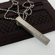 mens engraved necklaces personalized bar necklace four sides engraved