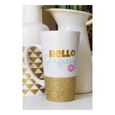 hello gorgeous glitter mug glitter dipped mug ceramic