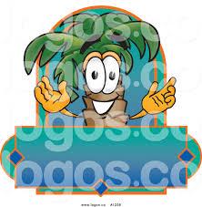 royalty free vector logo of a cartoon palm tree mascot over a