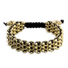 gold chain leather bracelet images Men 39 s 3 row 14kt yellow high polish gold black leather classic jpg