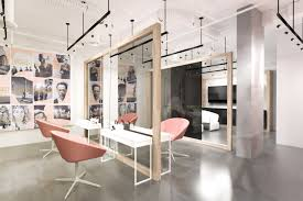 hair salon colored chairs and grey wall for superb hair salon interior