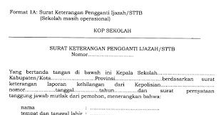 contoh surat pernyataan format a1 surat keterangan pengganti ijazah sttb yang hilang terbaru upt