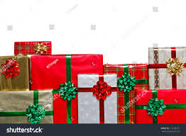 christmas present bows gift wrapped christmas presents bows stock photo 113199721