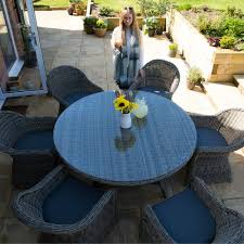 6 seater outdoor dining table 6 seater round glass and rattan dining set 150cm dia table