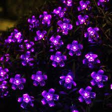 solar outdoor string lights 21ft 50 led purple blossom