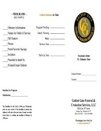 funeral programs order of service fillable sle funeral program order of service edit print