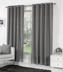 Heavy Grey Curtains Sorbonne Plain Dyed Heavy Cotton Eyelet Ring Top Lined Curtains