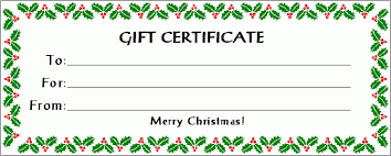 holiday gift certificate templates gift certificate template