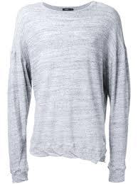 bassike round jersey sweatshirt grey marl men clothing bassike
