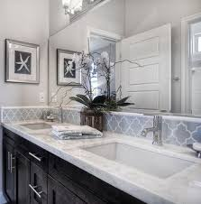 bathroom backsplash ideas cabinets light gray walls white counters bathroom