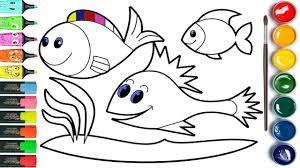 how to draw fish and coloring page youtube