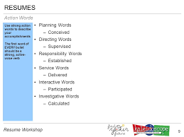 Action Words Resume 1 Resume Workshop 2 Resume Workshop Introduction Introduction