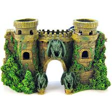 blue ribbon pet products castle fortress with gargoyles ornament