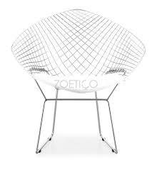 White Wire Chair Bertoia Style Diamond Wire Chair Multiple Cushion Colors