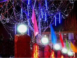 20cm meteor shower rain led light tube string christmas tree party