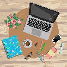 jeu de travail au bureau vue de bureau de travail féminin illustration vectorielle de