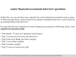 senior financial accountant interview questions
