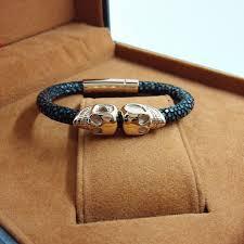 bracelet gold leather man images Men double skull bracelet jewelry black leather man made stingray jpg